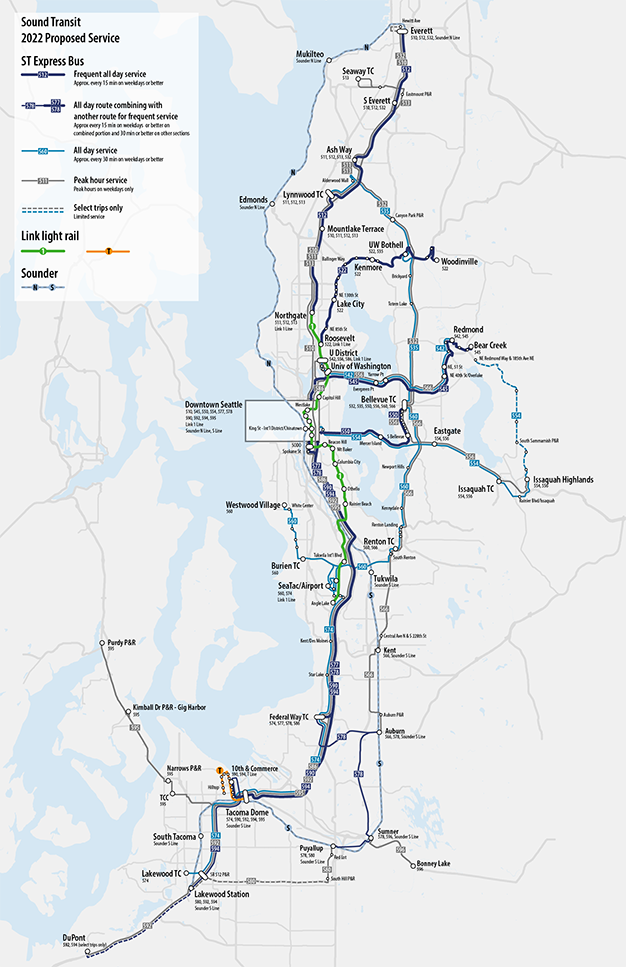 Full map of proposed Sound Transit service changes