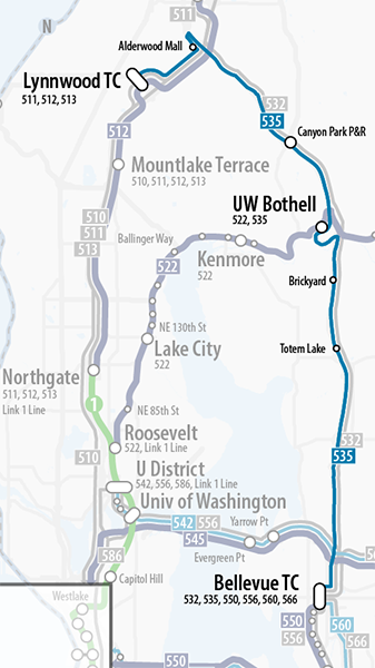 Map of proposed update to Sound Transit Route 535