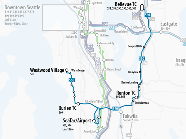 Map of proposed changes to Sound Transit Route 560.