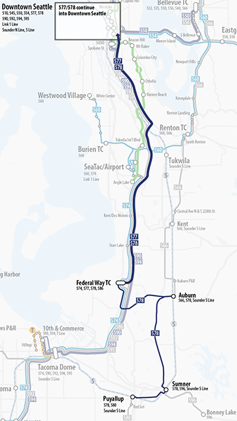 Map of proposed changes to Sound Transit route 577.