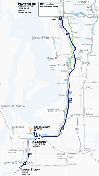 Map of proposed changes to Sound Transit route 590.