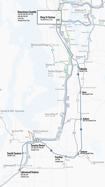 Map of proposed changes to Sound Transit Sounder South route.